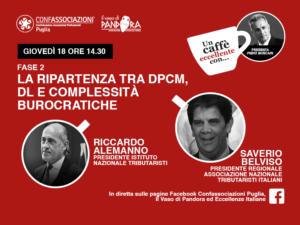 Fase 2: la ripartenza tra DPCM, DL e complessità burocratiche. Un caffè eccellente con Riccardo Alemanno e Saverio Belviso