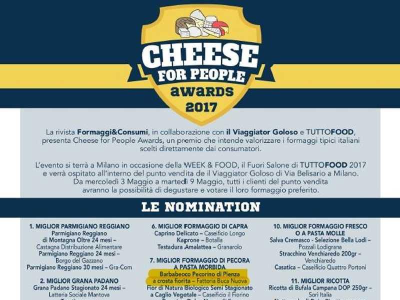 Barbabecco, pecorino a crosta fiorita di Fattoria Buca Nuova tra le nomination del Cheese for People Awards 2017.